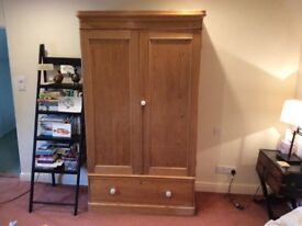 Edwardian Pine Wardrobe with Large Drawer