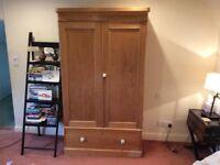 Edwardian Pine Wardrobe with Large Drawer
