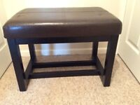 Brown leather effect stool/table