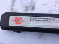 WURTH 3/8 inch torque wrench, unused and boxed, original paper work