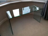 Glass console table in excellent condition