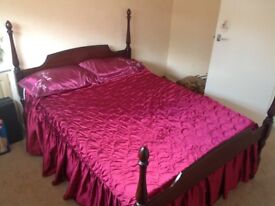 Stag Four poster Mahogany Bed with divan .. Optional Double Tempur Mattress available