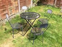 French Ornate Style Wrought Iron Bistro garden table and 4 Chairs Black