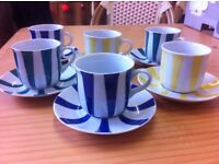 Striped cup and saucers