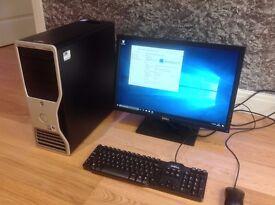 """Dell Desktop PC 8GB RAM 300GB HD 22"""" Dell LCD Monitor Windows 10 Home"""