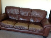 Brown faux leather Three seater and two seater sofa set /suite for free