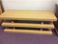 FABULOUS SOLID TV UNIT WITH 3 SHELVES IN LIGHT COLOURED WOOD EFFECT, VERY SOLID