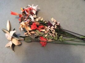 A selection of peach and cream long stem dried flowers
