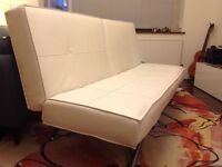 Sofa bed, faux leather, off white