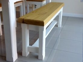 New solid pine handmade bench 5ft dining chairs rustic chunky shabby farmhouse dining table