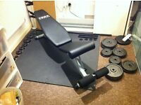 Home Gym (Gym Bench, Weights and floor guard)