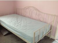 Excellent condition Day Bed, metal frame Ivory from Next available with mattress