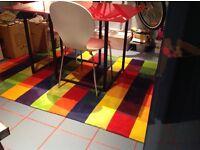 Large floor rug colour block 200x200cm