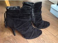 Black suede ankle boots with 4 inch heels Size 6 /7