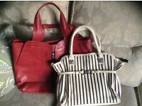 Red and beige bags