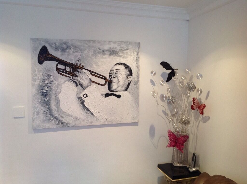 "Papion original painting (oil on canvas) Louis Armstrong...Hight 31"" by 39"" Wide...only £170 ..."