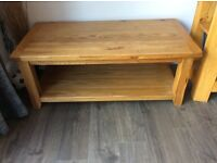 Solid oak coffee table. Matching nest of 3 tables also available, being advertised separately.