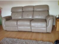 Immaculate ex Gillies leather sofa 3 seater and 2 seater