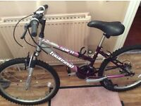"""Girls bike 24"""" wheels suitable for girl age 8 plus. Purple and grey."""