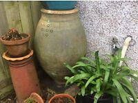 5 X GRANITE MUSHROOMS,GRANITE TROUGH & Large oil jar