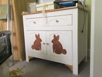 Baby Nappy Changing Table - unique hand painted Rabbits
