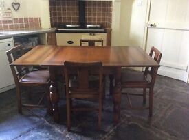 Vintage Draw leaf dining table and four chairs
