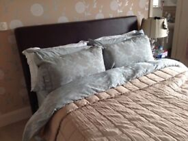 Kings sized leather bed for sale and sprung mattress
