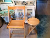 "PINE CHAIR &PINE STOOL,THEY BOTH FOLD UP TO STORE EASILY """" SOLD,"""""