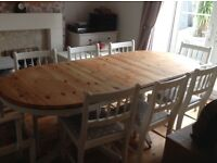 Hand Painted Solid Wood Extendable Table and Chairs