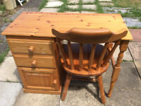 Solid Pine Desk/Dressing Table with 2 Drawers and cupboard and matching chair