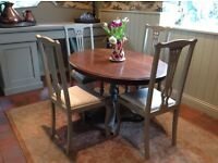 Fabulous dining suite antique table four chairs painted country kitchen