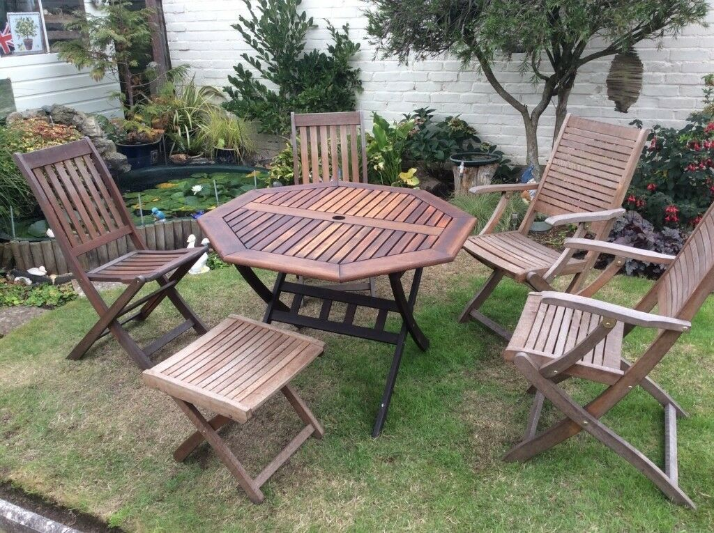 Garden furniture teak wood very good condition 4 chairs ...