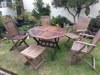 Garden furniture teak wood very good condition 4 chairs table and coffee table