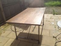 Barker and Stonehouse solid oak and metal industrial style table and sideboard loft style dining set