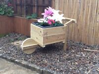 Wooden Timber Decking Wheelbarrow Garden Planter