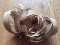 Tweed beige hair fascinator