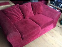 3 and 2 seater Clara sofas in red fabric