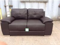 Chunky Brown Leather 2 Seat Sofa with Chrome Feet - £199 Including Free Local Delivery