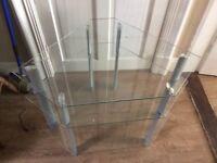 3 tier glass & metal TV stand - 61Hx92Wx60D (CMs)