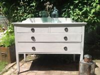 Antique chest of drawers hand painted origional casters