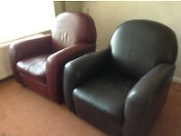 2 Italian Leather Armchairs in very good condition, one black, one burgundy