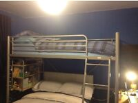 Kids/teenager high bunk bed with desk and shelving
