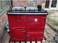 Red oil fired Rayburn with flue