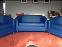 Tub sofa and 2 Tub Chairs in blue