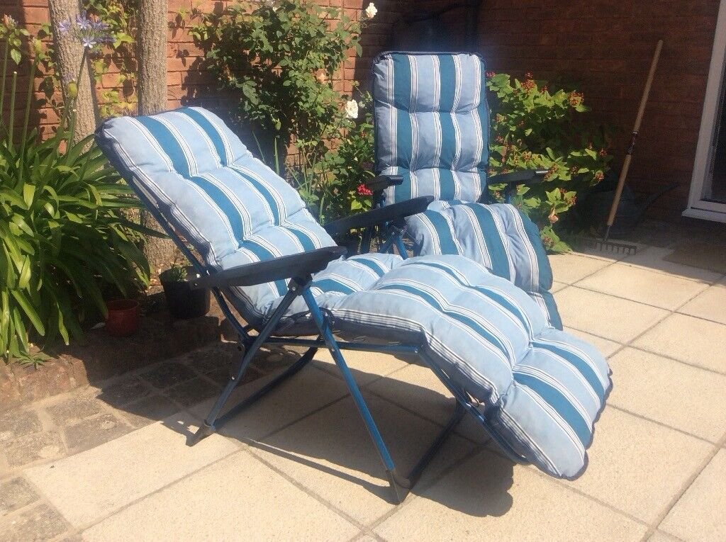 Garden Recliner Chairs Blue And White