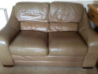 Leather 2 seater sofas with matching chair and footstool