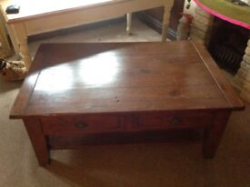 Large farmhouse solid wood coffee table