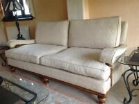 Cream Flock Pattern - Hatfields Sofa - Detachable Covers - Seats 4