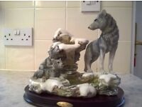 JULIANA COLLECTION ORNAMENT OF SNOW WOLF FAMILY . not boxed