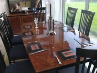 Stunning hi lacquer burred wood 8 seater table and chairs.,